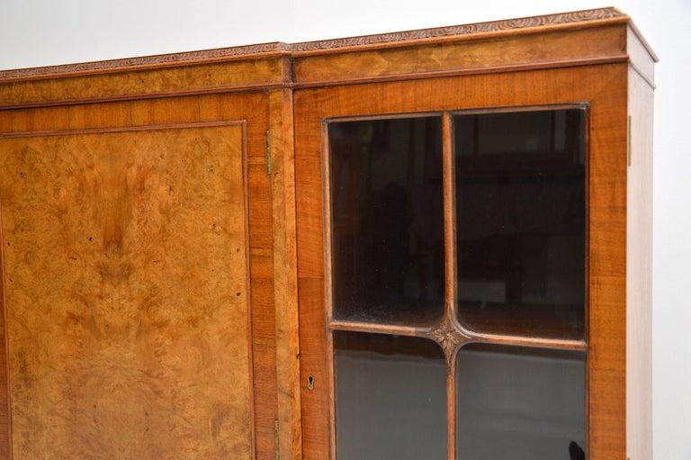 Antique Queen Anne Style Burr Walnut Bookcase 1