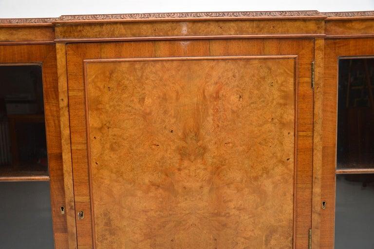 Antique Queen Anne Style Burr Walnut Bookcase 2