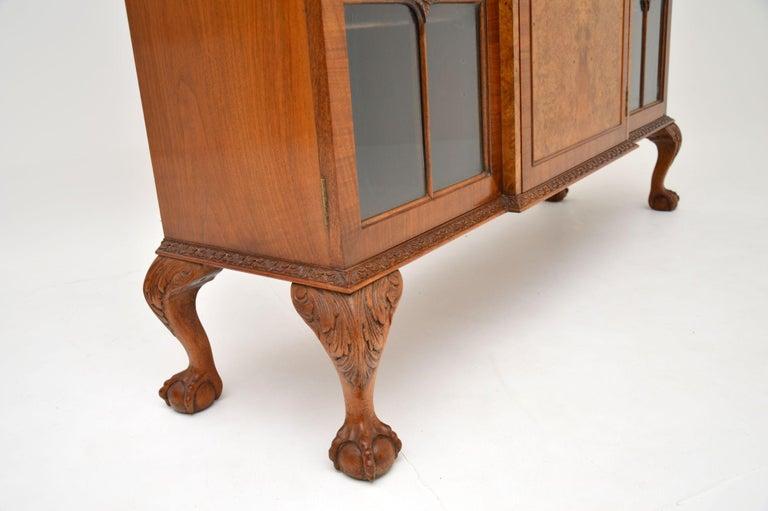 Antique Queen Anne Style Burr Walnut Bookcase 3