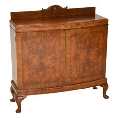 Antique Queen Anne Style Burr Walnut Cabinet Sideboard