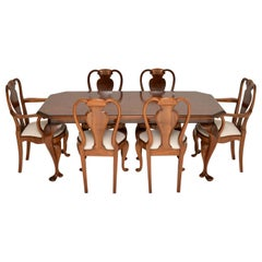 Antique Queen Anne Style Burr Walnut Dining Chairs and Table