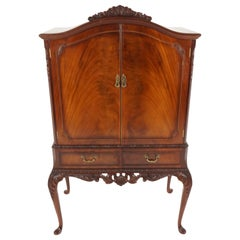 Antique Queen Anne Style Mahogany Cocktail Drinks Cabinet, Scotland 1930, B2182