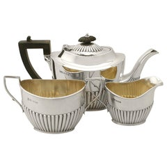 Antique Queen Anne Style Sterling Silver Three-Piece Bachelor Tea Service