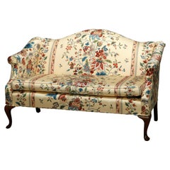 Antique Queen Anne Style Upholstered Settee, 20th Century