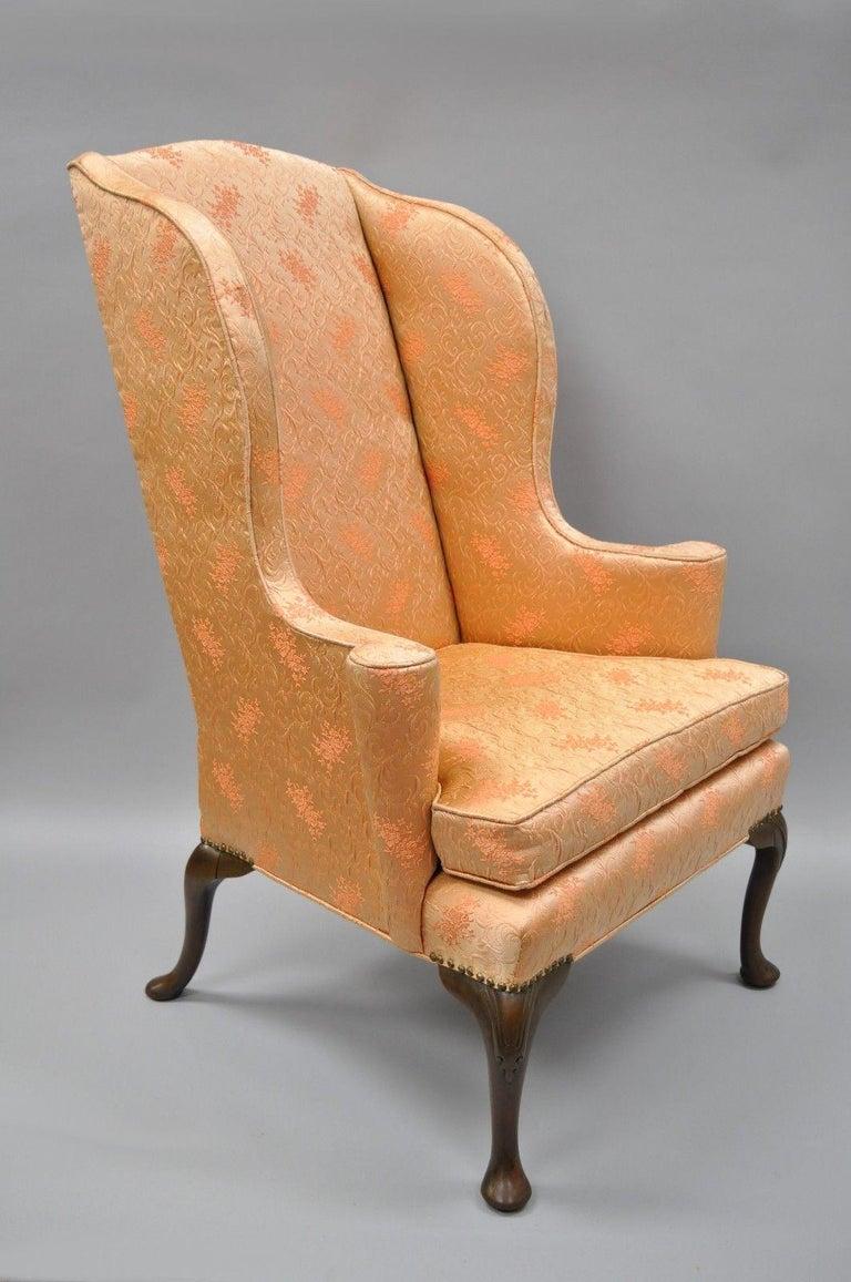 Antique Queen Anne Wingback Armchair Chair Rolled Arms For Sale 4 - Antique Queen Anne Wingback Armchair Chair Rolled Arms For Sale At
