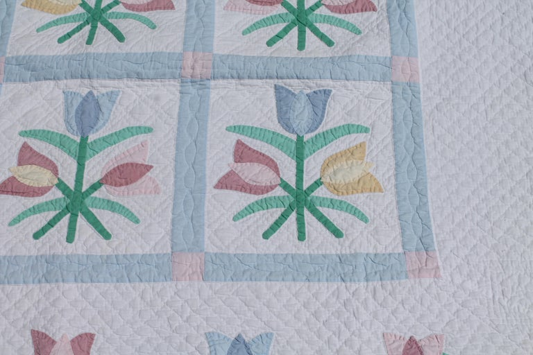 This fine detailed applique is late but great with fine piece work and quilting.