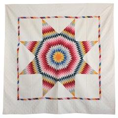 Antique Quilt, 19th Century Eight Point Star Quilt