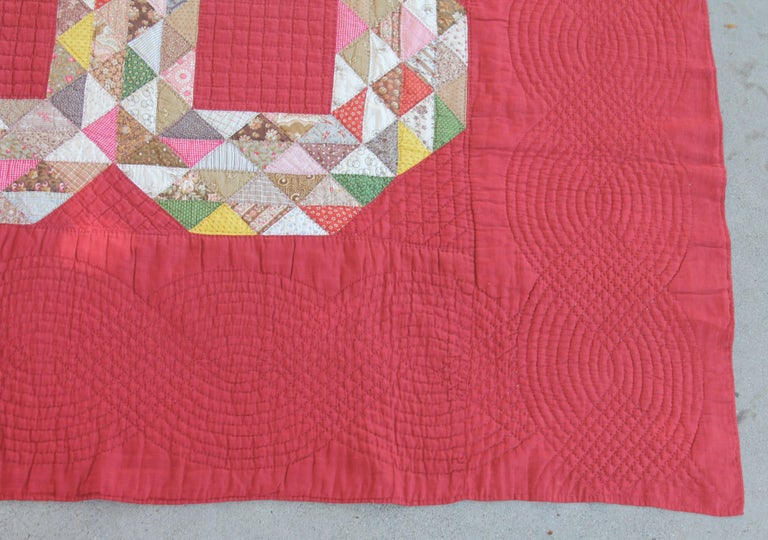 Country Antique Quilt, 19th Century Ocean Waves with a Rust Ground For Sale