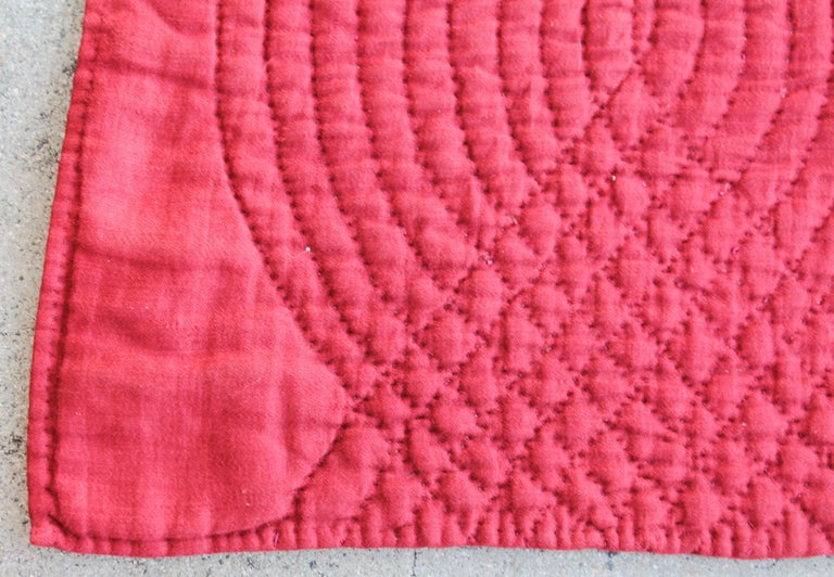 Hand-Crafted Antique Quilt, 19th Century Ocean Waves with a Rust Ground For Sale