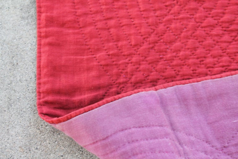 Antique Quilt, 19th Century Ocean Waves with a Rust Ground For Sale 1