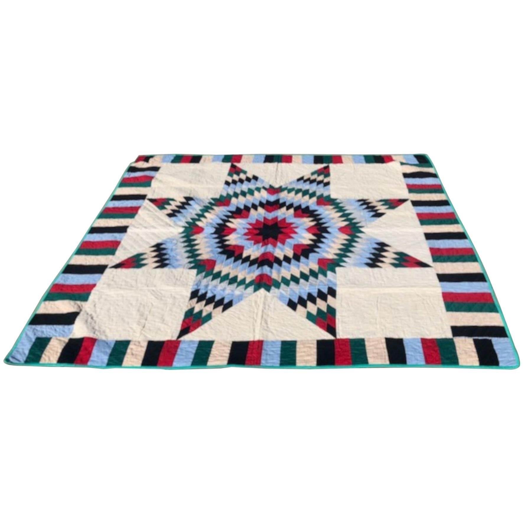 Antique Quilt, 20th Century Star Quilt With Striped Border