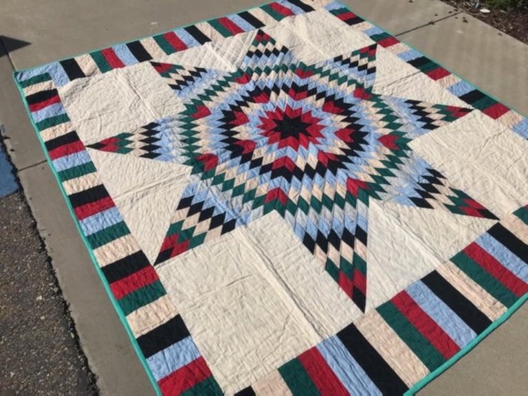 Adirondack Antique Quilt, 20th Century Star Quilt With Striped Border For Sale