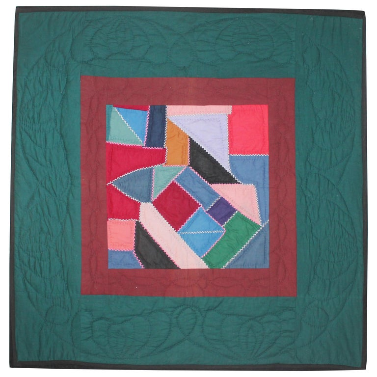 Antique Quilt, Amish Contained Crazy Crib Quilt Mounted For Sale