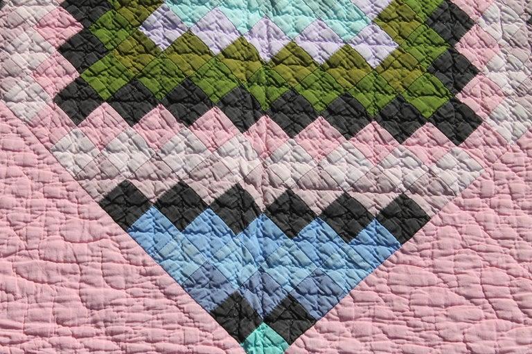 Adirondack Antique Quilt, Amish Diamond in a Square Quilt For Sale