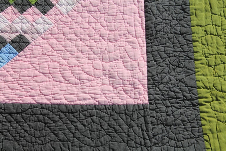 American Antique Quilt, Amish Diamond in a Square Quilt For Sale