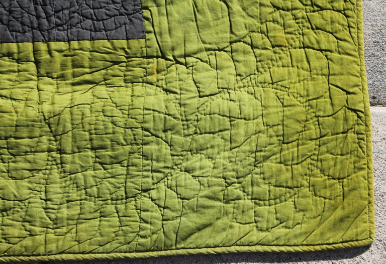Hand-Crafted Antique Quilt, Amish Diamond in a Square Quilt For Sale