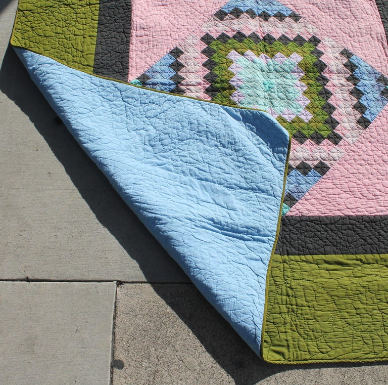 20th Century Antique Quilt, Amish Diamond in a Square Quilt For Sale