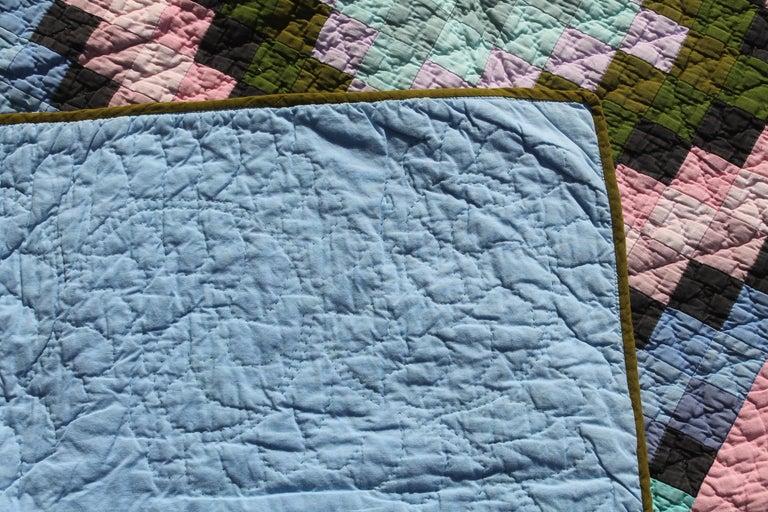 Cotton Antique Quilt, Amish Diamond in a Square Quilt For Sale