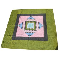 Antique Quilt, Amish Diamond in a Square Quilt