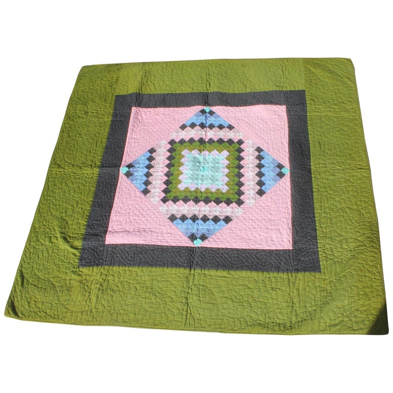 Antique Quilt, Amish Diamond in a Square Quilt For Sale