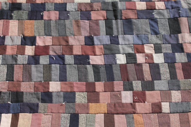 Country Antique Quilt / Amish Mini-Pieced Men's Suiting Quilt For Sale
