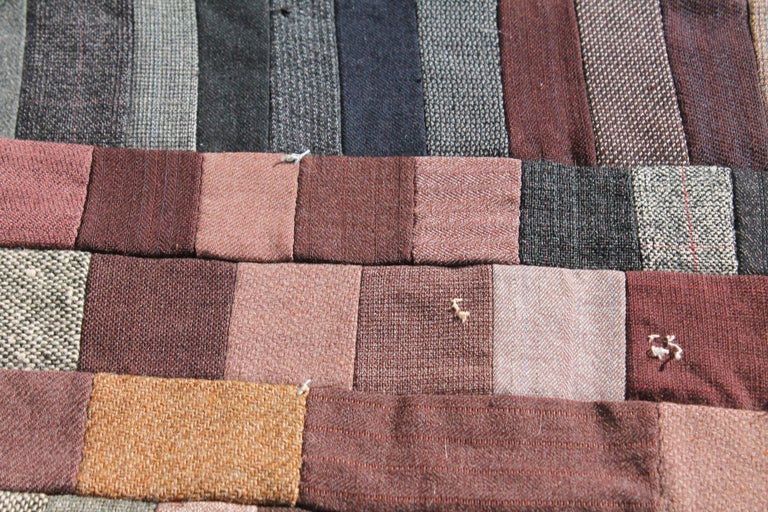 Hand-Crafted Antique Quilt / Amish Mini-Pieced Men's Suiting Quilt For Sale