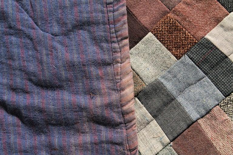 20th Century Antique Quilt / Amish Mini-Pieced Men's Suiting Quilt For Sale