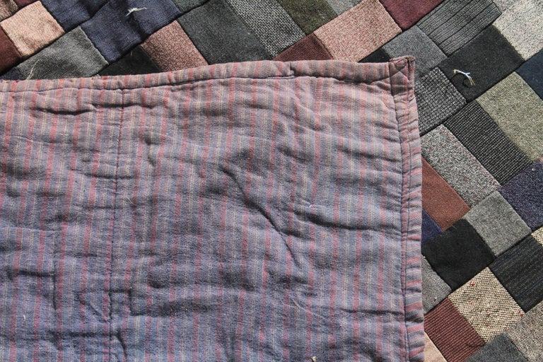 Cotton Antique Quilt / Amish Mini-Pieced Men's Suiting Quilt For Sale