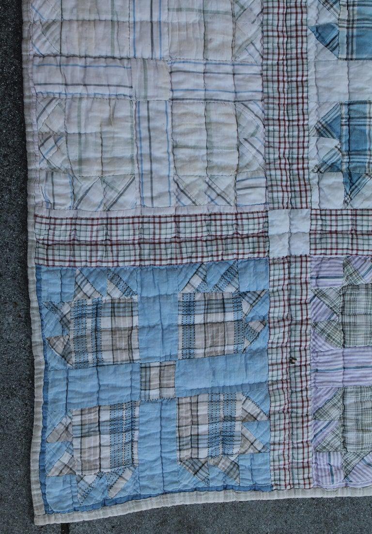 Adirondack Antique Quilt, Blue Bear Paw Pattern For Sale