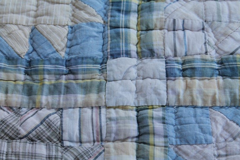 Hand-Crafted Antique Quilt, Blue Bear Paw Pattern For Sale