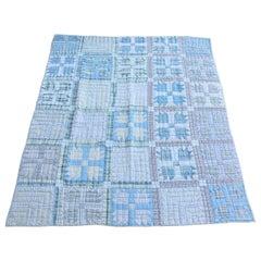 Antique Quilt, Blue Bear Paw Pattern