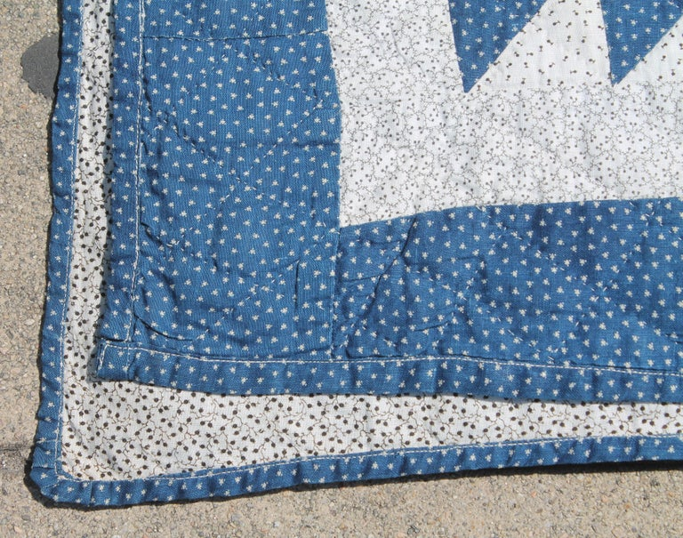 Hand-Crafted Antique Quilt Blue and White Ocean Waves Pattern For Sale