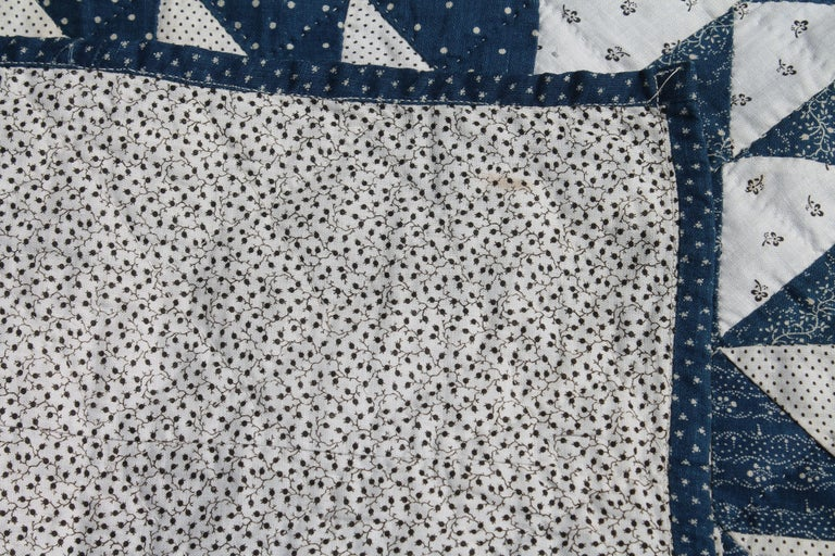 19th Century Antique Quilt Blue and White Ocean Waves Pattern For Sale