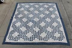 Antique Quilt Blue & White Ocean Waves Pattern