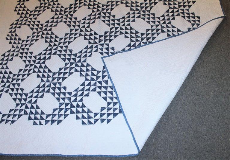 American Antique Quilt Blue & White Ocean Waves Quilt For Sale