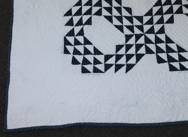 Hand-Crafted Antique Quilt Blue & White Ocean Waves Quilt For Sale
