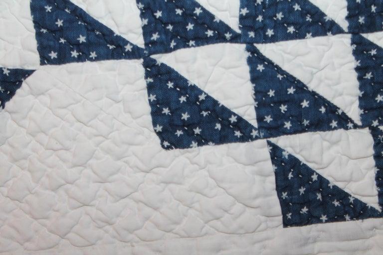 19th Century Antique Quilt Blue & White Ocean Waves Quilt For Sale