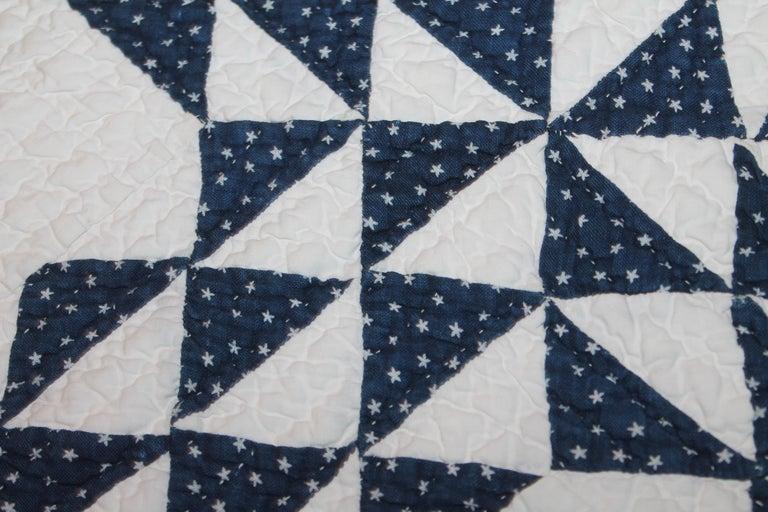 Cotton Antique Quilt Blue & White Ocean Waves Quilt For Sale