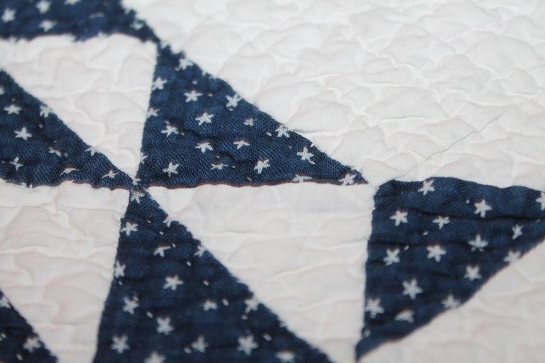 Antique Quilt Blue & White Ocean Waves Quilt For Sale 1