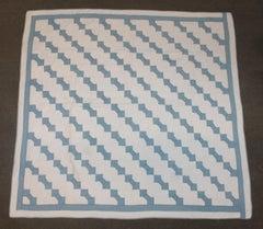 Antique Quilt Bow Tie in  Blue & White