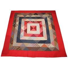 Antique Quilt Concentric Squares Geometric Pattern