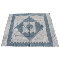 Antique Quilt Early 20th Century Blue and White Saw Tooth Diamond in a Square