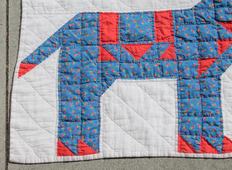 Country Antique Quilt - Early 20th Century Donkey Quilt For Sale