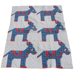 Antique Quilt - Early 20th Century Donkey Quilt