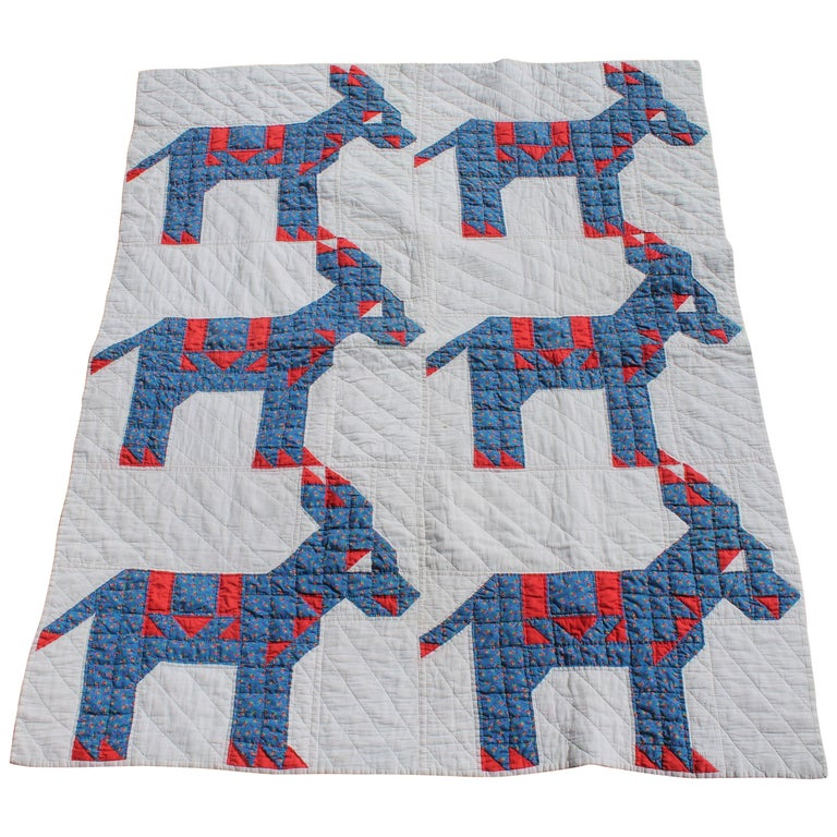 Antique Quilt - Early 20th Century Donkey Quilt For Sale