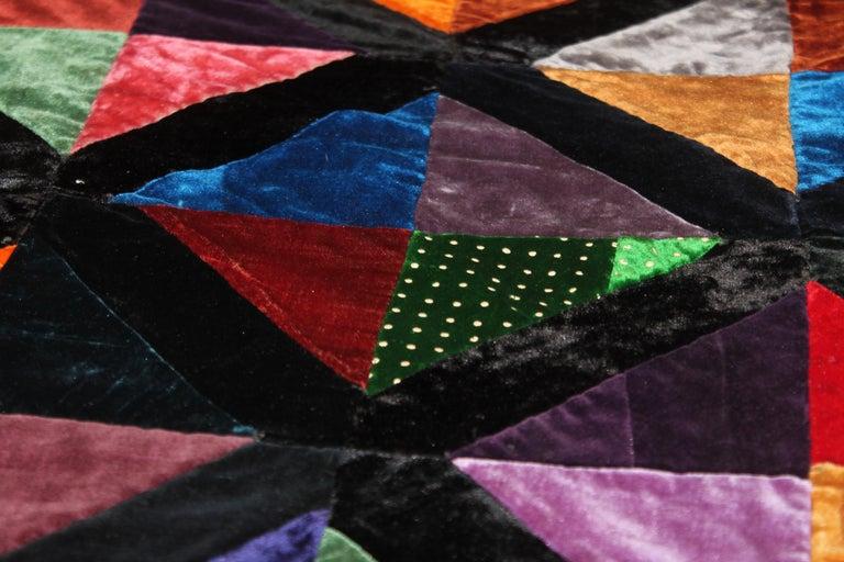Adirondack Antique Quilt Fantastic Velvet Hour Glass Quilt For Sale