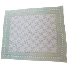 Antique Quilt Green and White Pin Wheels