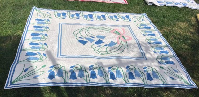 Country Antique Quilt, Applique Quilt, ll For Sale