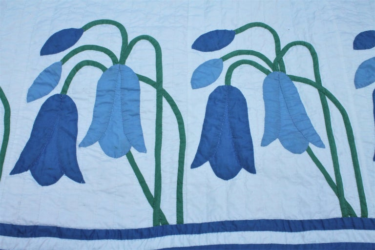 Cotton Antique Quilt, Applique Quilt, ll For Sale