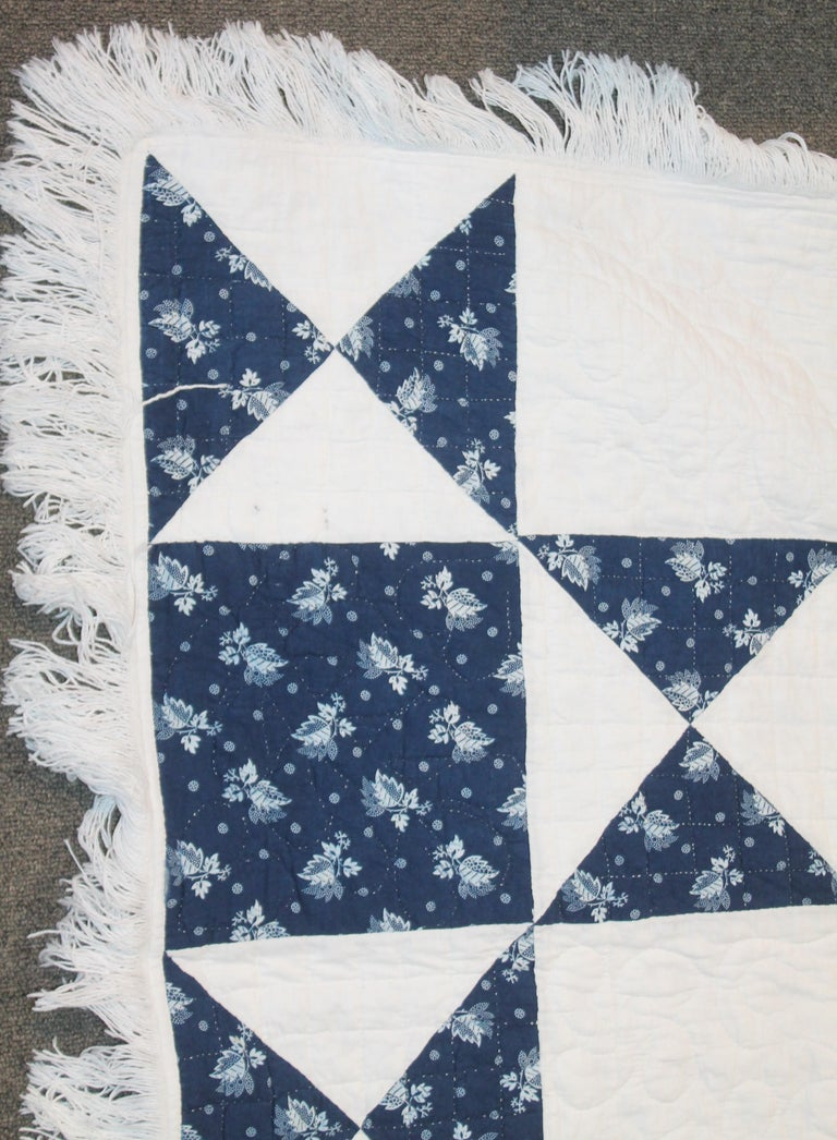 Adirondack Antique Quilt, Mid-19th Century Blue Resist Eight Point Stars For Sale